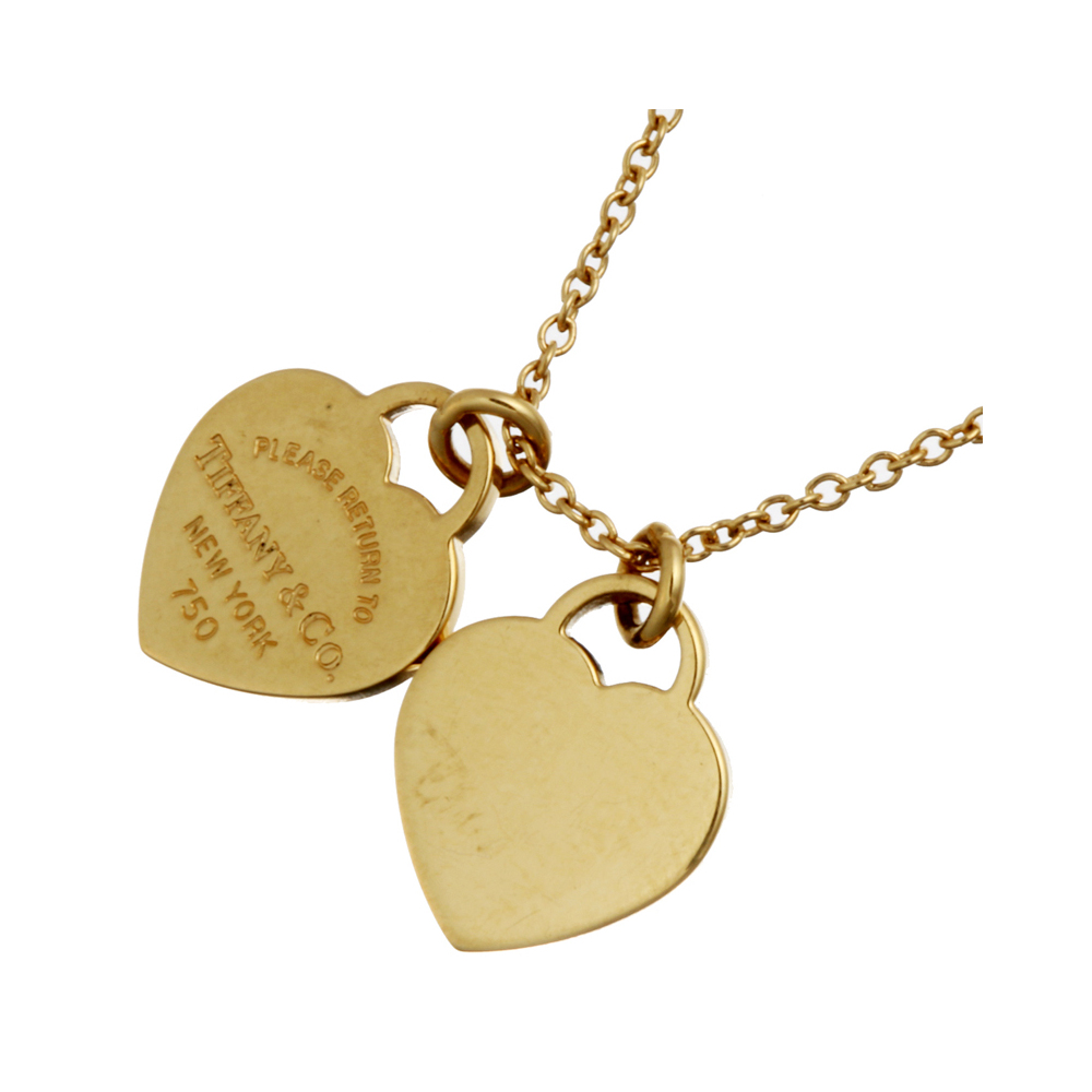 Tiffany Return To Mini Double Heart Tag Pendant Ladies Necklace 750 Yellow Gold Dh56577 Elady Com