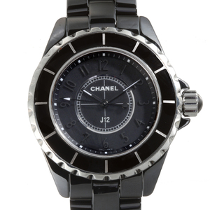 CHANEL J12 Intense Black Ladies Watch H4196 Ceramic Arabian Dial