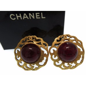 Chanel Vintage Coco Mark Earring Gold Stone 0053 CHANEL