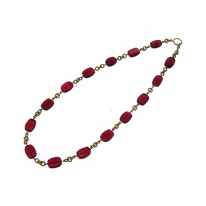 Chanel Stone Chain Necklace Metal Red Vintage 0065CHANEL Accessory