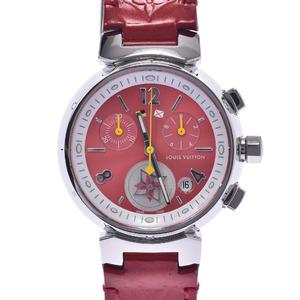 LOUIS VUITTON Tambour Chrono Lovely Cup Q1G03 Ladies Steel Leather Quartz Watch