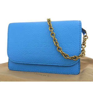 BURBERRY chain bag wallet leather light blue gold metal fittings party 20200417