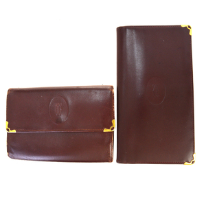 Cartier Must 2-piece Set Leather Middle Wallet (bi-fold) Bordeaux