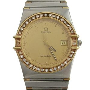 OMEGA Constellation Diamond 18K Gold Steel Quartz Mens Watch