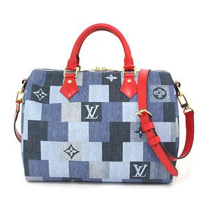 Louis Vuitton Speedy Bandolier 30 Denim Monogram Leather Red M45041