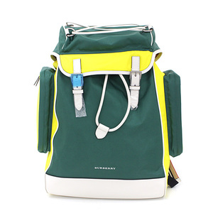 Burberry Nylon Backpack Green Yellow Multicolor Calf Leather Rucksack 40742481