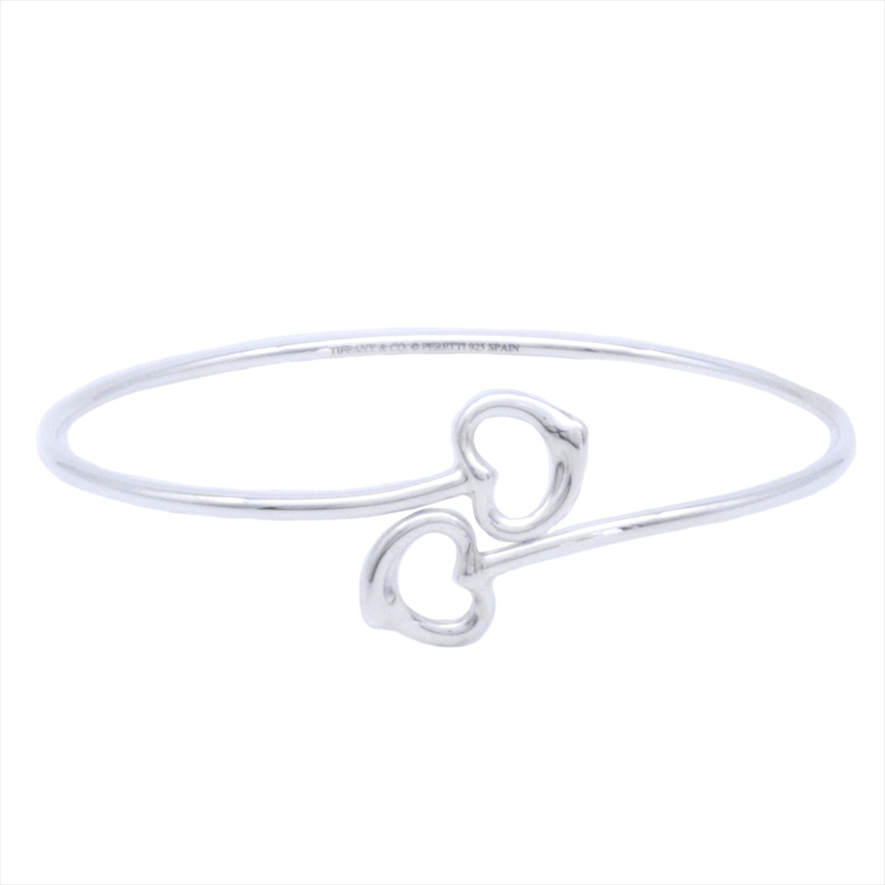 Tiffany Open Heart Cross Design Sterling Silver 925 Bangle Silver
