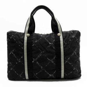 Chanel CHANEL Briefcase PC Case Travel Line Black Gray White Nylon Ladies 51173
