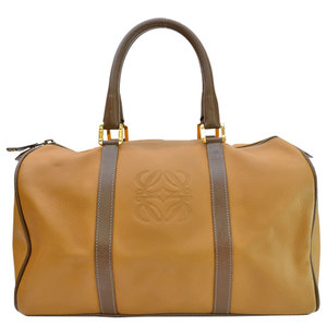 LOEWE Bag Anagram Light Brown Leather Handbag Boston Ladies 51032