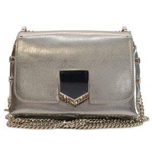 Jimmy Choo JIMMY CHOO bag silver black leather shoulder ladies 51035
