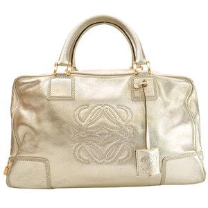 LOEWE Bag Champagne Gold Leather Handbag Boston Ladies 51034