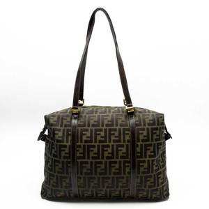 FENDI Shoulder Bag Tote Zucca Pattern Leather Canvas Ladies 51541