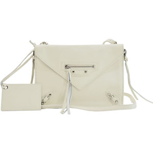 Balenciaga BALENCIAGA Bag White Silver Leather Shoulder Clutch Ladies 51043