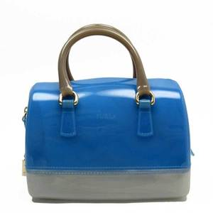 Furla FURLA Handbag Boston Bag Candy Blue Gray Gold Rubber Ladies 51534