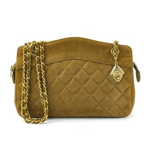 Chanel CHANEL Bag Light Brown Gold Suede Shoulder Ladies 51019