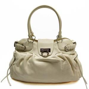 Salvatore Ferragamo Shoulder Bag Gantini Off White Silver Leather Ladies 51517