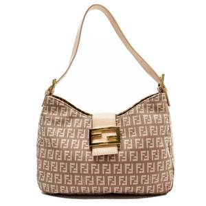 Fendi FENDI Shoulder Bag Zucca Gold Canvas Leather 51791d