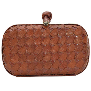Bottega Veneta Clutch Bag Knot Brown Leather Multi Case Ladies 51708