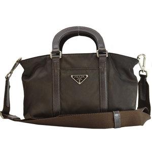Prada PRADA Triangle Logo Chocolate Brown Silver Nylon Leather Handbag Shoulder Bag Ladies 51577