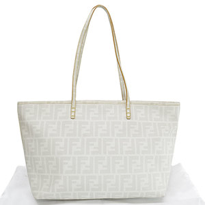 Fendi FENDI Bag Zucca Ivory Light Gray PVC Shoulder Tote Ladies 51889a