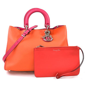 Christian Dior Handbag Shoulder Bag Diorissimo Orange Pink Leather Ladies 97818a