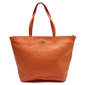 Salvatore Ferragamo Shoulder Bag Tote Orange Gold Leather Ladies 52071d