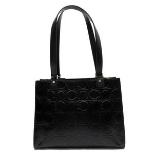 Salvatore Ferragamo Shoulder Bag Gantini Black Leather Suede Ladies 52016a