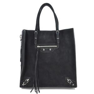 Balenciaga Handbag Tote Paper A5 Black Suede BALENCIAGA Ladies 97789d