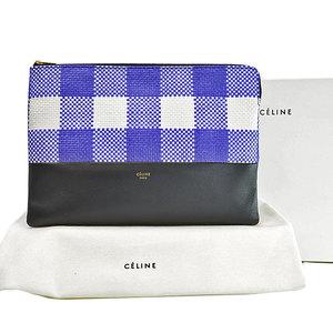Celine CELINE Bag Purple White Black Nylon Canvas Leather Clutch Second Ladies 51865e