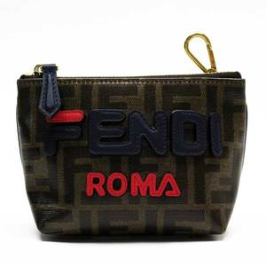 FENDI Pouch Multi Case Zucca Brown Navy Red Gold Coated Canvas Leather Ladies 52000c