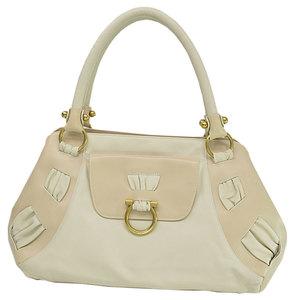 Salvatore Ferragamo Bag Gantini Beige Ivory Gold Leather Shoulder Ladies 51878d