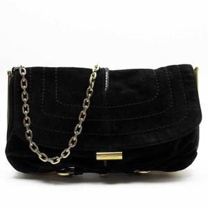 Jimmy Choo JIMMY CHOO Shoulder Bag Black Gold Suede Ladies 52009a