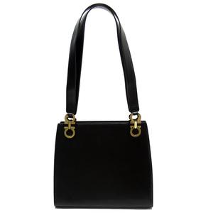 Salvatore Ferragamo Shoulder Bag Gantini Black Gold Leather Ladies 52062d