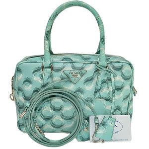 Prada prada bag triangle logo light silver leather handbag shoulder ladies 51892a