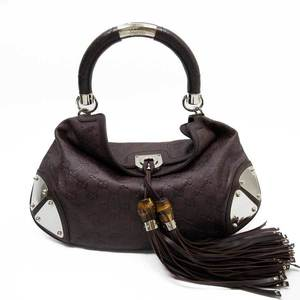GUCCI Shoulder Bag Gucci Shima Brown Silver Leather Bamboo Ladies 52014c