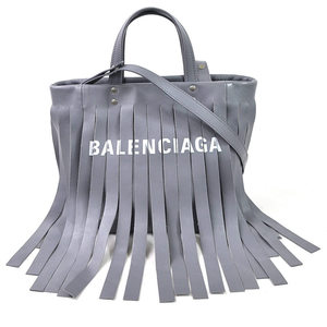 Balenciaga Handbag Shoulder Bag Laundry Hippo S FRINGES Gray Leather BALENCIAGA Ladies 97848d