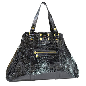Fendi FENDI Bag Black Gold Patent Leather Shoulder Tote Ladies 51841a