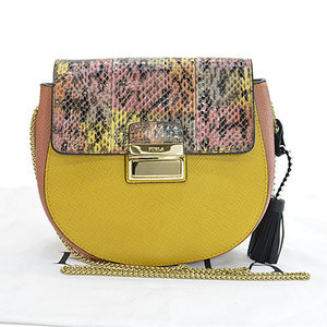 Furla FURLA Bag Metropolis Yellow Salmon Pink Black Gold Leather Shoulder Ladies 51739