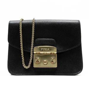 Furla FURLA Metropolis Black Gold Leather Ladies 51928