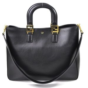 FENDI Handbag Shoulder Bag TOTE BAG MEDIUM Black Leather Ladies 97948e