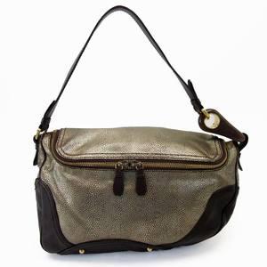 Celine CELINE shoulder bag gold dark brown leather ladies a1495
