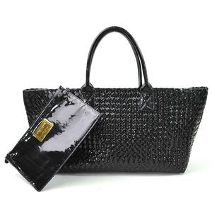 Bottega Veneta Handbag Tote Bag Intrecciato MM Black Patent Leather BOTTEGA VENETA Ladies 97938f
