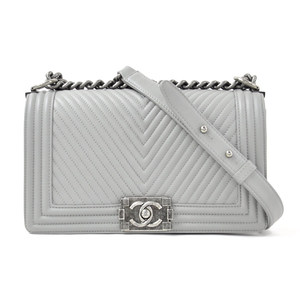 Chanel Shoulder Bag Boy BOY CHANEL FLAP BAG Gray Leather Ladies A67086 98032b