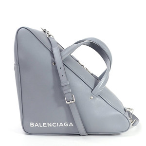 Balenciaga Handbag Shoulder Bag Triangle Duffle M Gray White Leather BALENCIAGA Ladies 97901