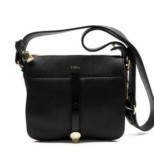 Furla FURLA Shoulder Bag Black Red Gold Leather a1689
