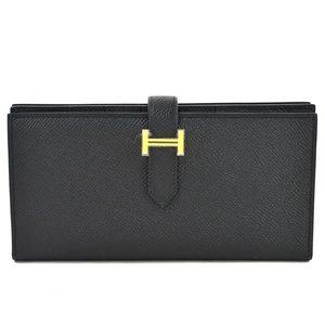 Hermes Short Bi-Fold Wallet Bearnsfure Black Vow Epson HERMES Women's 97972f