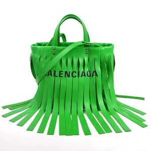 Balenciaga Handbag Shoulder Bag Laundry Hippo S FRINGES Green Leather BALENCIAGA Ladies 98081a