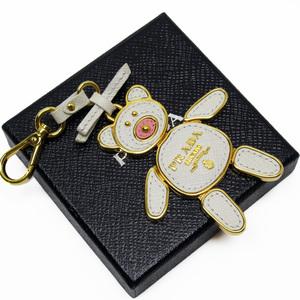 Prada prada charm bear ivory gold saffiano leather ladies a1591