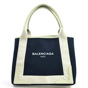 Balenciaga Handbag Tote NAVY CABAS S Navy Ivory Canvas Leather BALENCIAGA Ladies 98090b