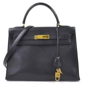 Hermes Handbag Shoulder Bag Kelly 32 Black Ardennes HERMES Women's 98005a